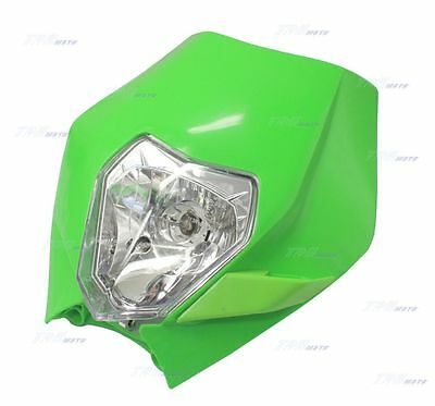 Green Motocross Recreation Dirt Pit Bike Plastic Fairing Headlight for Rec Reg