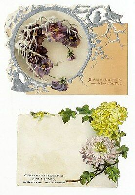 FLORAL Victorian - 2 Cards with Die Cut Edges 1880s - Pansy and Chrysanthemums