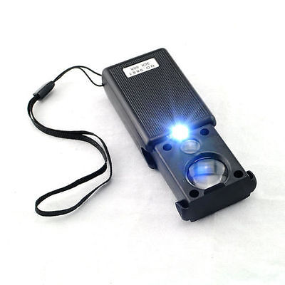 New Withdrawable Type 60X /& 30X UV LED Jewelry Eye Glass Magnifier Loupe Lens