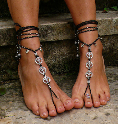 Black and Silver Peace Barefoot Sandals