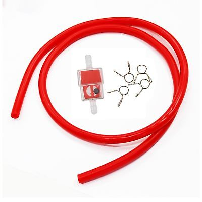 1Meter Red Petrol Hose Oil Fuel Line Pipe For Motorbike Atv Quad Dirt Trail Bike