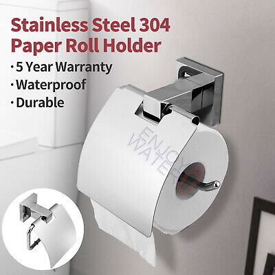 Chrome Stainless Steel Toilet Paper Roll Holder Wall Mounted Bathroom With Cover