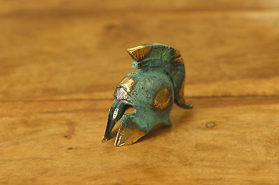 Ancient Greek Warrior's Helmet Miniature, Oxidised Bronze