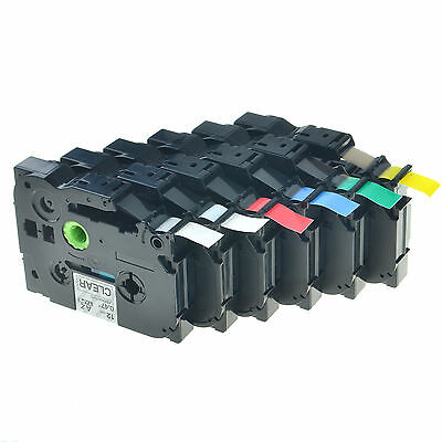6PK 12mm TZe TZ 131 231 431 531 631 731 Label Tape Set For Brother P-Touch ST-5