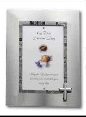 *NEW* Baptism Photo Frame Christening on this day poem silver