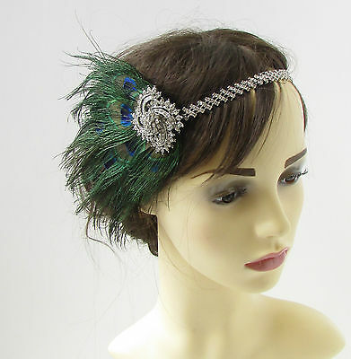 Silver Peacock Feather Headband 1920s Great Gatsby Flapper Headpiece Green 295