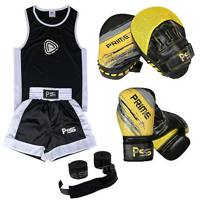 Black Kids Uniform Set 3 Boxing Uniform Boxing Gloves 1012 Focus Pad 1106 Set-12