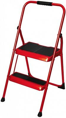 Stupendous Red Folding 2 Step Safety Utility Step Stool Secure Ladder Lamtechconsult Wood Chair Design Ideas Lamtechconsultcom