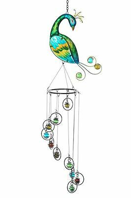 Glass and Metal Peacock Windchime / Mobile