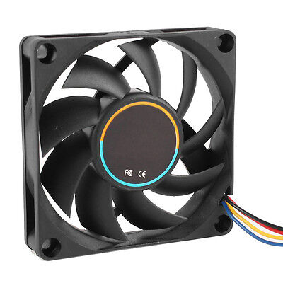 70mmx15mm 12V 4 Pins PWM PC Computer Case CPU Cooler Cooling Fan Black AD