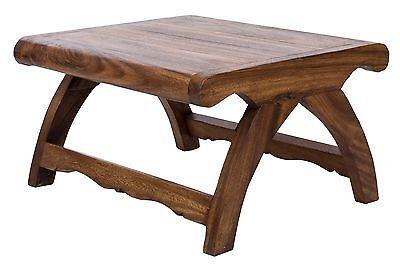 table bench solid wood coffee 50x60x30cm colonial style handcarved thai design