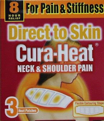 Cura-Heat Neck & Shoulder Direct to Skin 3 Patches Pain Relief