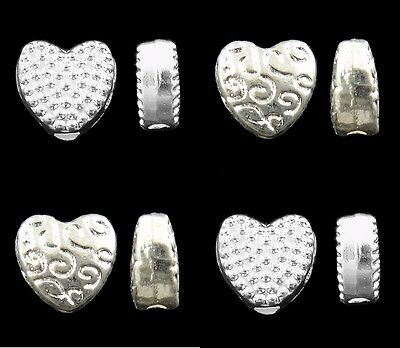 ❤ Bright Silver Plated HEART Spacer Beads CHOOSE Design Jewellery Making UK ❤