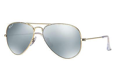 RAY BAN AVIATOR RB3025 112/W3 58 Gold Matte / Polarized Silver Flash