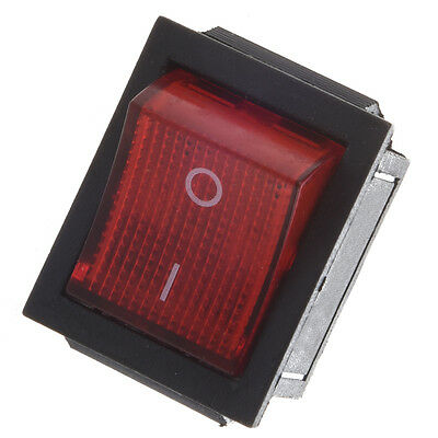 Red Light Illuminated 4 Pin DPST ON/OFF Snap in Rocker Switch 16A 20A 250V AC AD