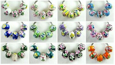 5 pc Hand Painted Colors Porcelain Bead Charms for European Big Hole Jewelry USA