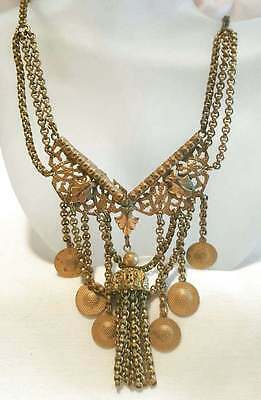 """Antique Necklace Filigree Floral Lavalier Dangle Charms Gold Plated 16.5"""""""