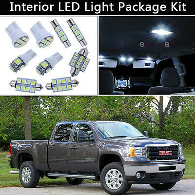 8PCS White LED Interior Lights Package kit Fit 2007-2013 GMC Sierra 2500 3500 J1
