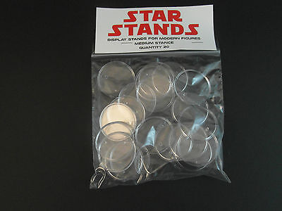 "20 x New 1.5"" Modern Star Wars Figure Display Stands-Wide stance -1995 and up T4"