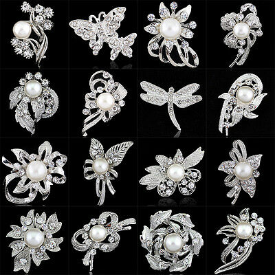 Crystal Flower Butterfly Pearl Exquisite Rhinestone Brooches Pins Collar Wedding
