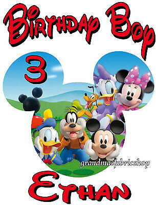 New Personalized Mickey Mouse Clubhouse birthday t shirt Goofy Pluto Donald duck