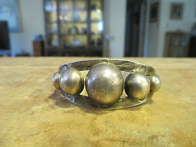 OLD Fred Harvey Navajo Sterling Silver DOME Row Cuff Bracelet with Cactus