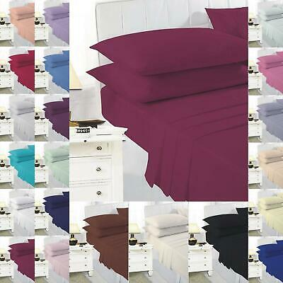 Fitted Bed Sheet Flat Plain Dyed Double Single Super King Size Pillow Cases Deep