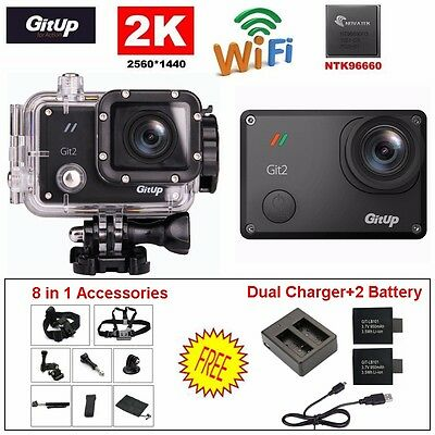 16M Ultra 2K Gitup Git2 WiFi 1080P Action Sports Camera Video+Battery+Charger