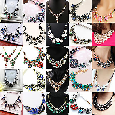 NT Women Lady Fashion Charm Crystal Choker Chain Chunky Statement Bib Necklace