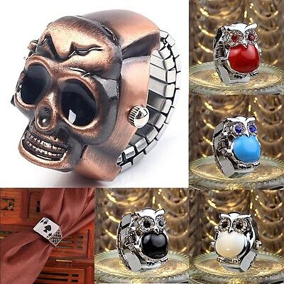 Retro Mens Womens Finger Ring Watch Unisex Cool Clamshell Ethnic Carved Watches