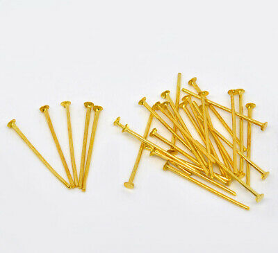 800+ GOLD PLATED HEAD PINS 18mm (21 Gauge) Jewellery Making~Beads~Earrings (4B)