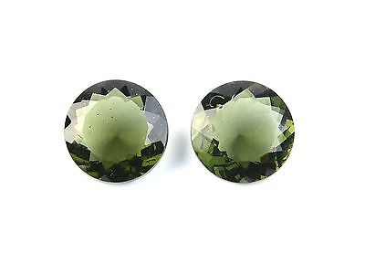 8.87cts round 12mm moldavite faceted stones sets for jewelers BRUS1450