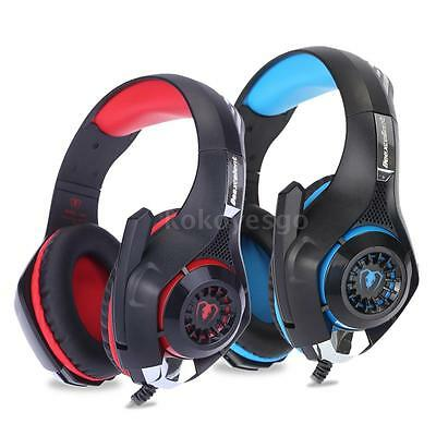 Stereo Auriculares Gaming Headset Headphone LED con Mic para Android iOS PC E9P6