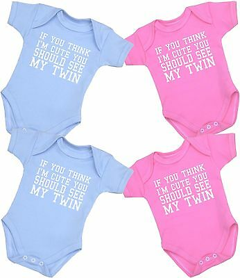 BABYPREM Baby Clothes CUTE TWIN TWINS Bodysuits Vests Funny Slogan One-Pieces