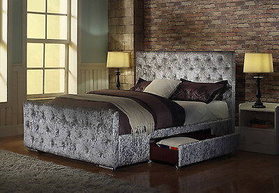 Crushed Velvet Fabric Bed Frame Zoe Silver 4ft6 inch, Double Size With Storage