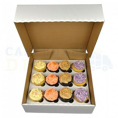 12 Corrugated Cupcake Box + Divider Cheapest On Ebay Choose Your Qty & Depth