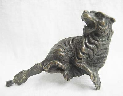 Rare Chinese old style Brass Carved tiger figure padlock lock and key