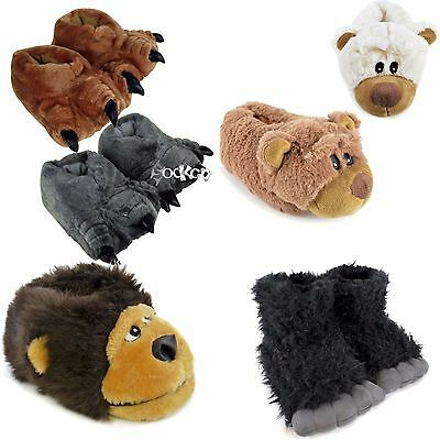 Kids Boys Girls Novelty 3D Plush Faux Fur Animal Gorilla Bear Slippers