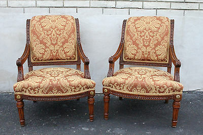 Lovely Pair of French Provincial Walnut Carved Fauteuils Chairs, New Upholstery