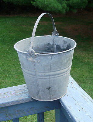 Vintage Old Galvanized Heavy Duty Metal Steel Bucket Primitive Farm Rustic Decor