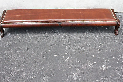 Very unusual Long Victorian Leather Footstool Bench, New Upholstery