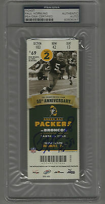 Paul Hornung signed autographed 2011 Full Ticket 50th Anniversary Packers - PSA