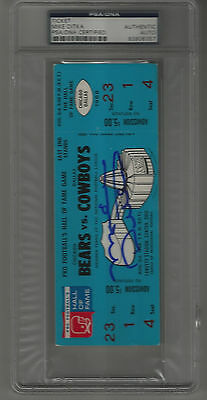 Mike Ditka signed autographed 1968 Hall of Fame Game Full Ticket Bears Cowboys