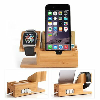 Apple Watch charging Stand Bamboo Wood Dock Charge Station iwatch iPhone mobile