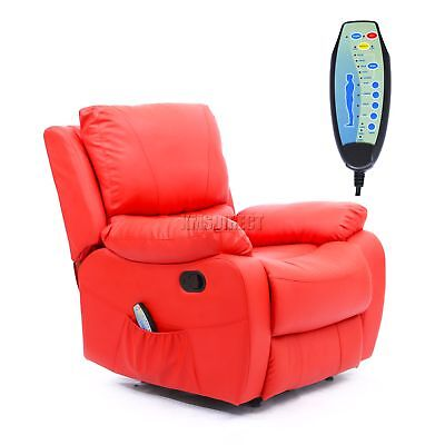 FoxHunter Leather Massage Cinema Recliner Sofa Chair Armchair Heat MLS-06 Red