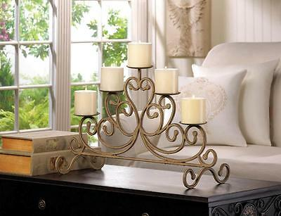 New! Wrought Iron Antique Finish Rustic Candelabra Candle Home Decor 10015541
