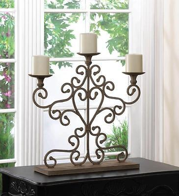New! Wrought Iron Antique Finish Scrolling Candelabra Candle Home Decor 10015540