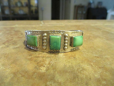 OLD Fred Harvey NAVAJO Sterling Silver Square Turquoise THUNDERBIRD Bracelet