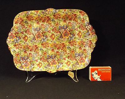 C.1930's Royal Winton Art Deco Savoury Tab Handled Tray/dish In Sunshine Chintz