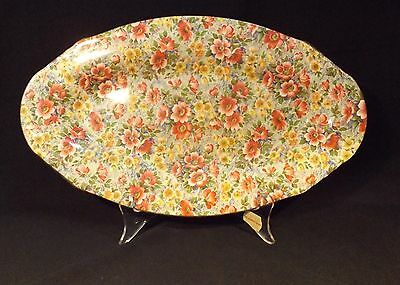 C.1930's 32 Cm Oval Shaped Lord Nelson Ware Chintz Briar Rose Savoury Dish